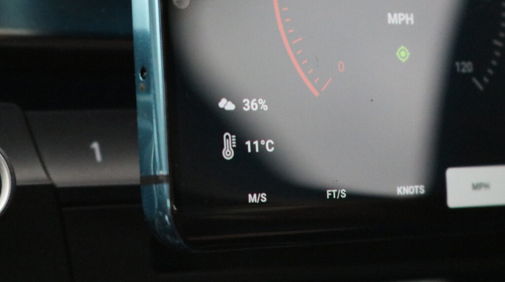 On-dashboard cloud coverage and temperature, Velocity GPS Dashboard 3.3.+