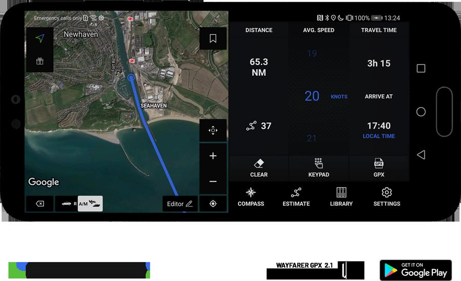 Travel time estimation across the English Channel, Wayfarer GPX 2.1