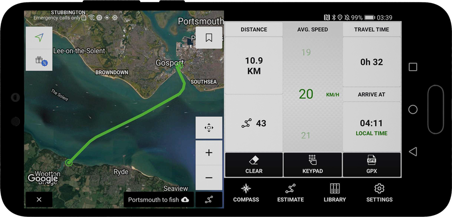 Wayfarer GPX for Android, measuring a route for boats across The Solent, UK
