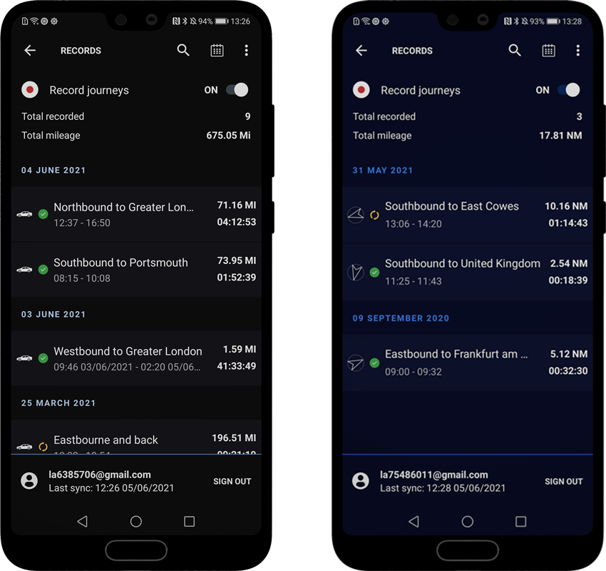 Journey history with cloud sync, RAMS GPS Dashboards for Android and Wear OS