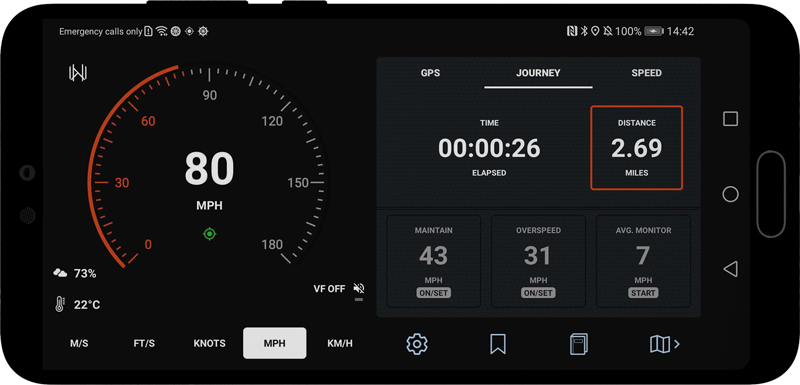 New decimal precision highlighted, Velocity GPS Dashboard for Android